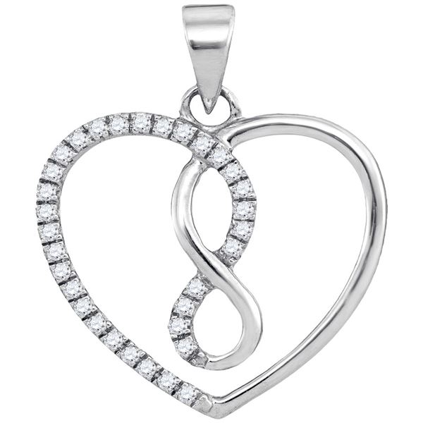 Round Diamond Infinity Heart Pendant 1/8 Cttw 10KT White Gold
