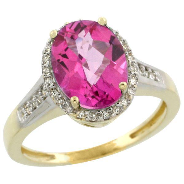 2.60 CTW Pink Topaz & Diamond Ring 10K Yellow Gold - REF-46V7R