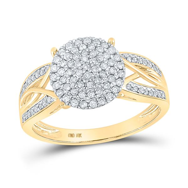 Round Diamond Circle Cluster Ring 3/8 Cttw 10KT Yellow Gold