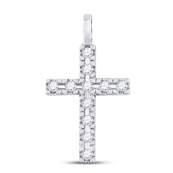 Round Diamond Cross Pendant 1/4 Cttw 10KT White Gold