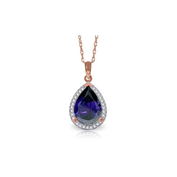 Genuine 5.26 ctw Sapphire & Diamond Necklace 14KT Rose Gold - REF-96T6A