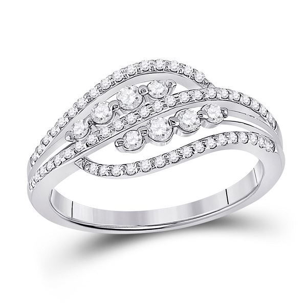 Round Diamond Crossover Fashion Ring 1/2 Cttw 10KT White Gold
