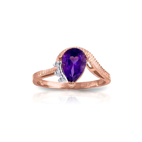 Genuine 1.52 ctw Amethyst & Diamond Ring 14KT Rose Gold - REF-51Y4F