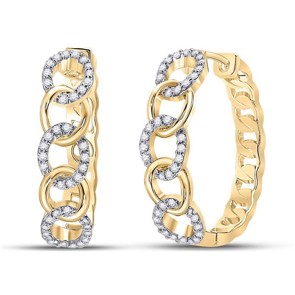 Round Diamond Cuban Curb Link Hoop Earrings 1/5 Cttw 10KT Yellow Gold