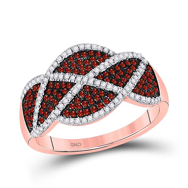 Round Red Color Enhanced Diamond Segmented Fashion Ring 1/2 Cttw 10KT Rose Gold