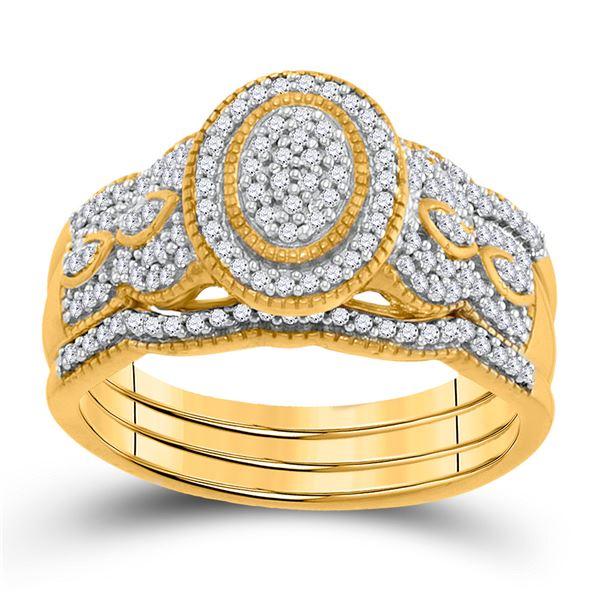 Diamond 3-Piece Bridal Wedding Ring Band Set 3/8 Cttw 10KT Yellow Gold