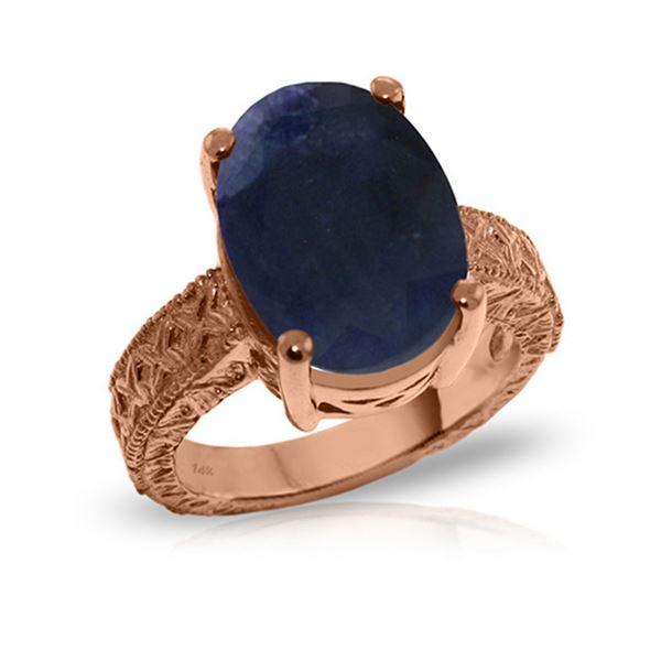 Genuine 8.5 ctw Sapphire Ring 14KT Rose Gold - REF-168W3Y