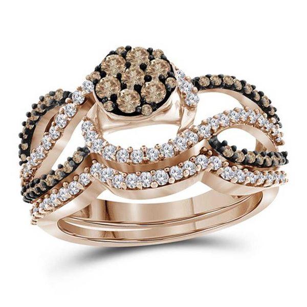 Round Brown Diamond Cluster Bridal Wedding Ring Band Set 1 Cttw 10KT Rose Gold