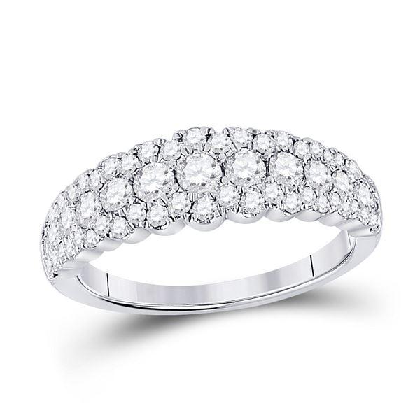 Round Diamond Triple Row Anniversary Ring 1 Cttw 10KT White Gold