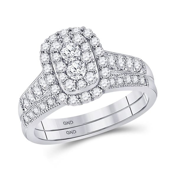Diamond Bridal Wedding Ring Band Set 1 Cttw 10KT White Gold