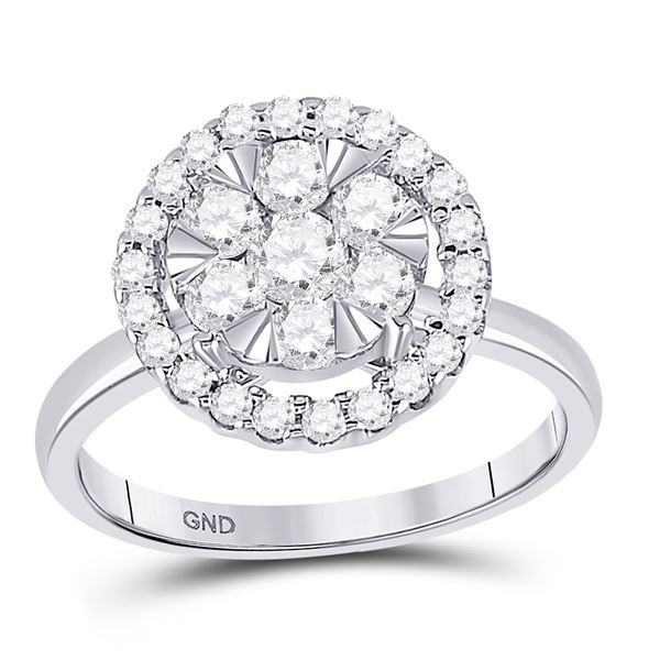 Round Diamond Halo Flower Cluster Ring 1 Cttw 14KT White Gold