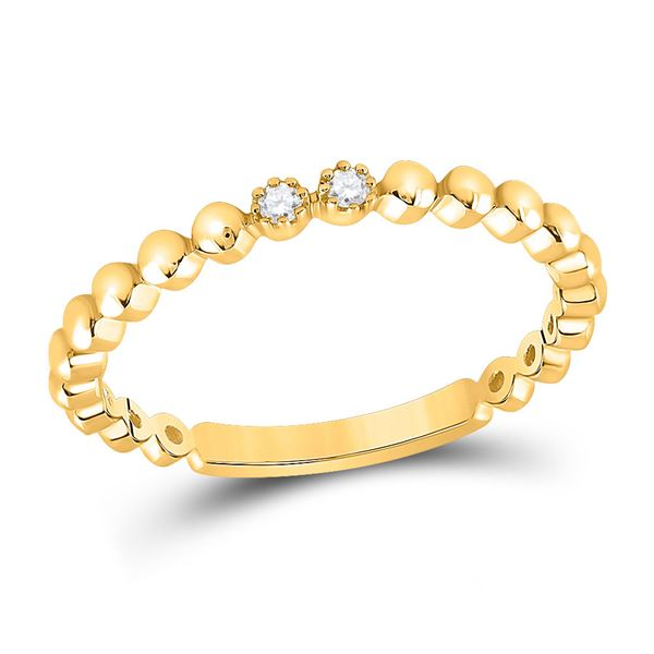 Round Diamond 2-Stone Stackable Band Ring .03 Cttw 10KT Yellow Gold