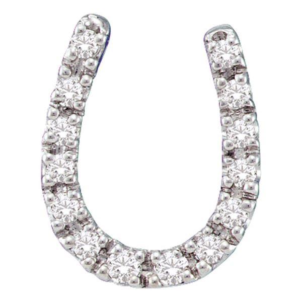 Round Diamond Horseshoe Pendant 1/10 Cttw 14KT White Gold