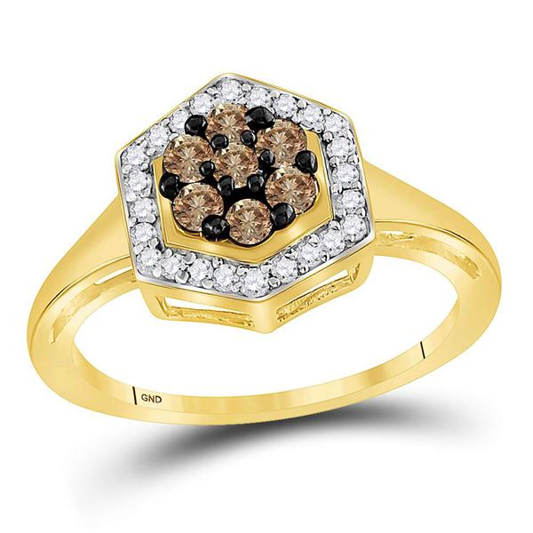 Round Brown Diamond Polygon Cluster Ring 1/2 Cttw 10KT Yellow Gold