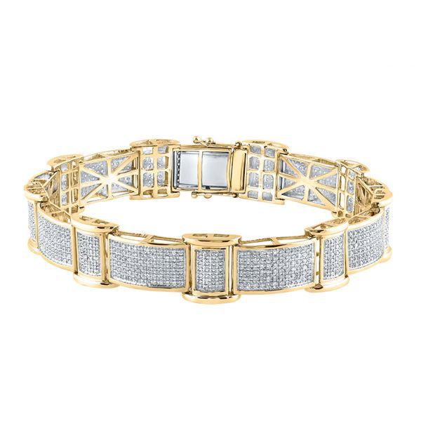 Round Diamond Rectangle Link Bracelet 2-5/8 Cttw 10KT Yellow Gold