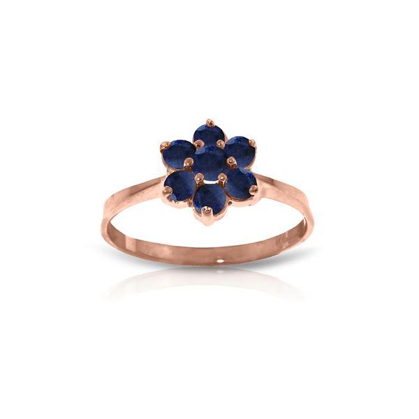 Genuine 0.66 ctw Sapphire Ring 14KT Rose Gold - REF-31Z4N