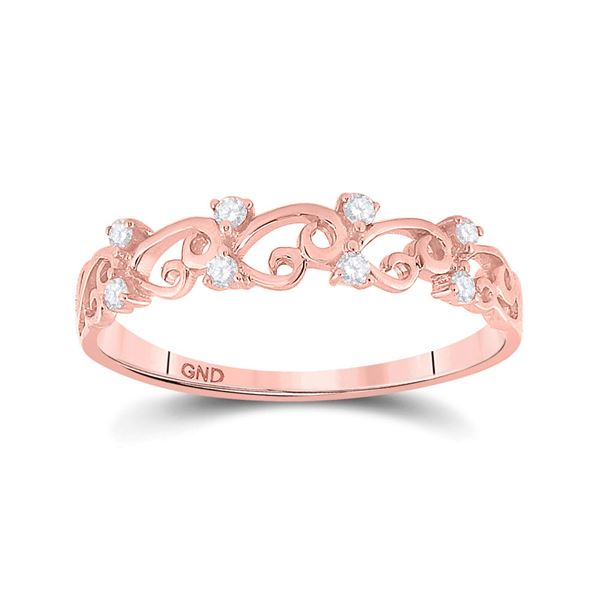 Round Diamond Curl Band Ring 1/10 Cttw 10KT Rose Gold