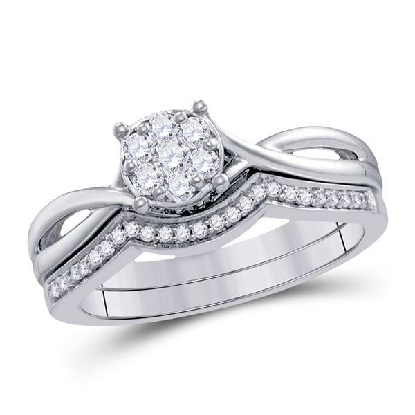 Diamond Twist Bridal Wedding Ring Band Set 1/3 Cttw 10KT White Gold