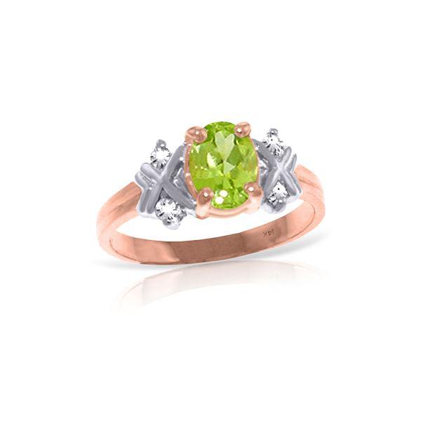 Genuine 0.97 ctw Peridot & Diamond Ring 14KT Rose Gold - REF-59F2Z