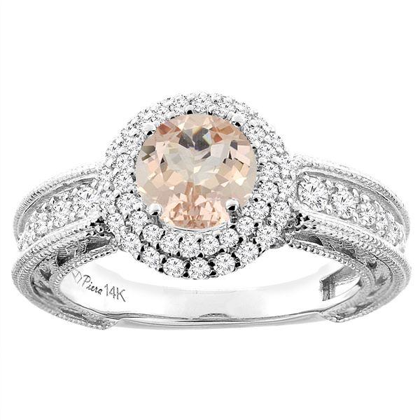 1.20 CTW Morganite & Diamond Ring 14K White Gold - REF-94N6Y