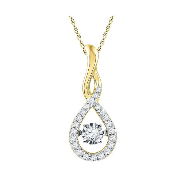 Round Diamond Solitaire Moving Twinkle Teardrop Pendant 1/4 Cttw 10KT Yellow Gold