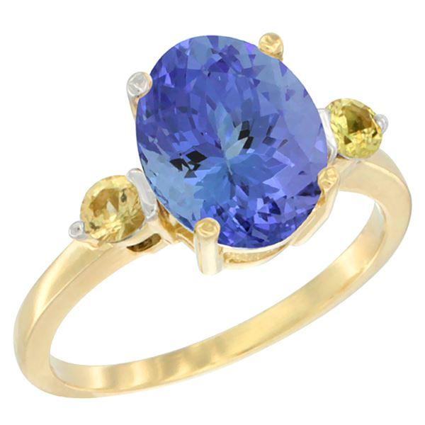 2.63 CTW Tanzanite & Yellow Sapphire Ring 10K Yellow Gold - REF-57W2F