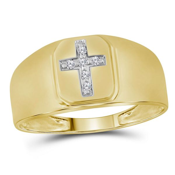 Round Diamond Brushed Cross Band Ring 1/20 Cttw 14KT Yellow Gold
