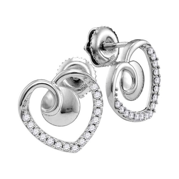 Round Diamond Heart Earrings 1/4 Cttw 10KT White Gold