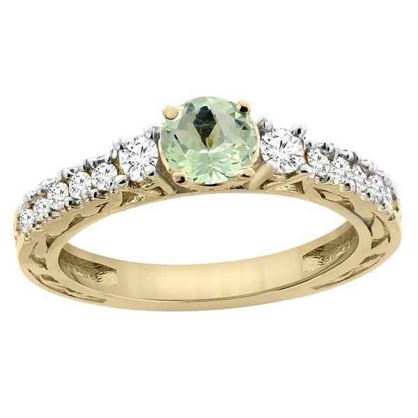 1.10 CTW Amethyst & Diamond Ring 14K Yellow Gold - REF-79V3R