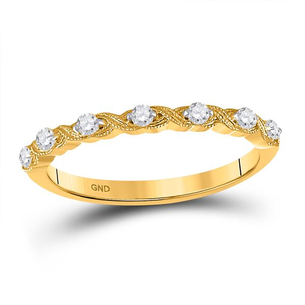 Round Diamond XOXO Stackable Band Ring 1/8 Cttw 14KT Yellow Gold