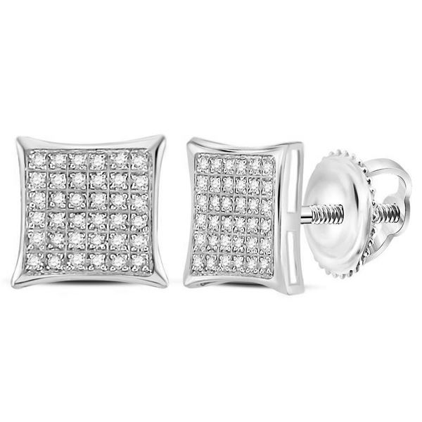 Round Diamond Square Cluster Earrings 1/4 Cttw 10KT White Gold