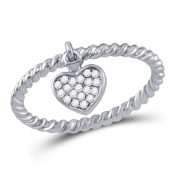 Round Diamond Heart Dangle Stackable Band Ring 1/10 Cttw 10KT White Gold