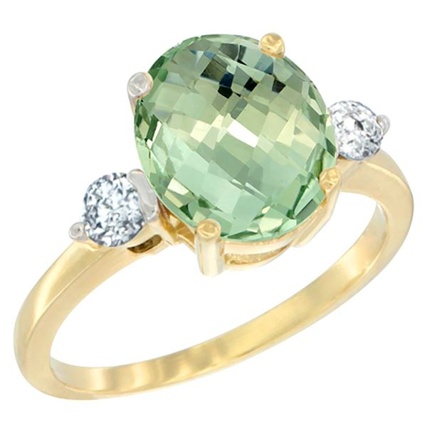 2.60 CTW Amethyst & Diamond Ring 14K Yellow Gold - REF-68N6Y