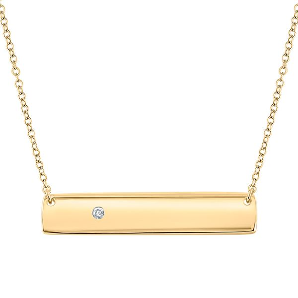 Round Diamond Rectangle Bar Necklace .02 Cttw 10KT Yellow Gold