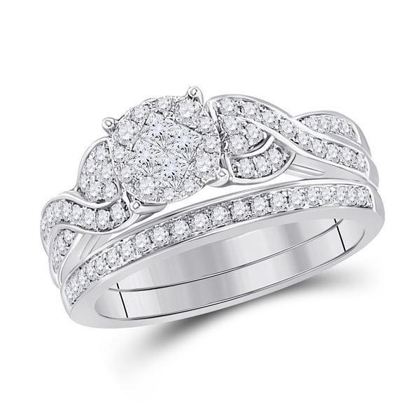 Bridal Wedding Ring Band Set 5/8 Cttw 14KT White Gold