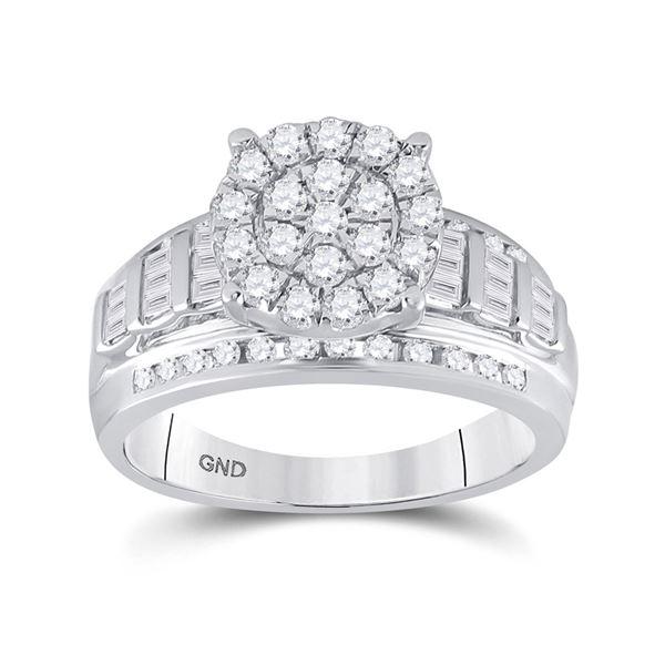 Diamond Cluster Bridal Wedding Engagement Ring 7/8 Cttw 10KT White Gold