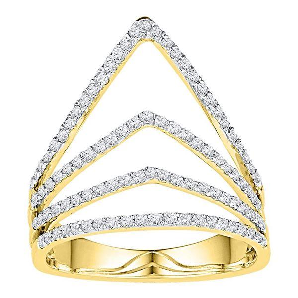 Round Diamond Chevron Fashion Ring 3/8 Cttw 10KT Yellow Gold