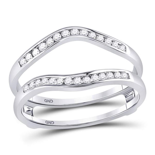 Round Diamond Ring Guard Wrap Solitaire Enhancer 1/4 Cttw 14KT White Gold
