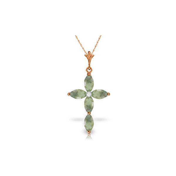 Genuine 1.10 ctw Green Amethyst & Diamond Necklace 14KT Rose Gold - REF-30P3H