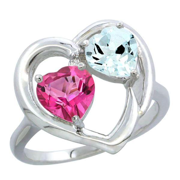 2.61 CTW Diamond, Pink Topaz & Aquamarine Ring 10K White Gold - REF-27W9F