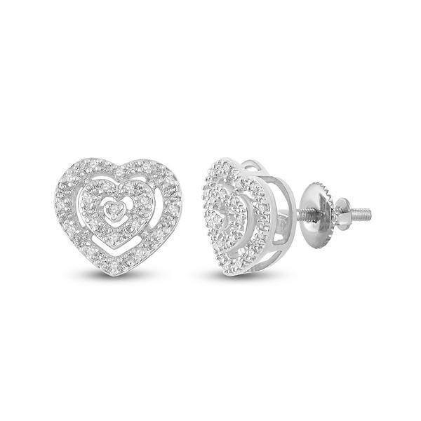 Round Diamond Heart Earrings 1/12 Cttw 10KT White Gold