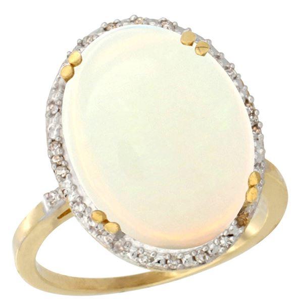 10.35 CTW Opal & Diamond Ring 14K Yellow Gold - REF-103N6Y