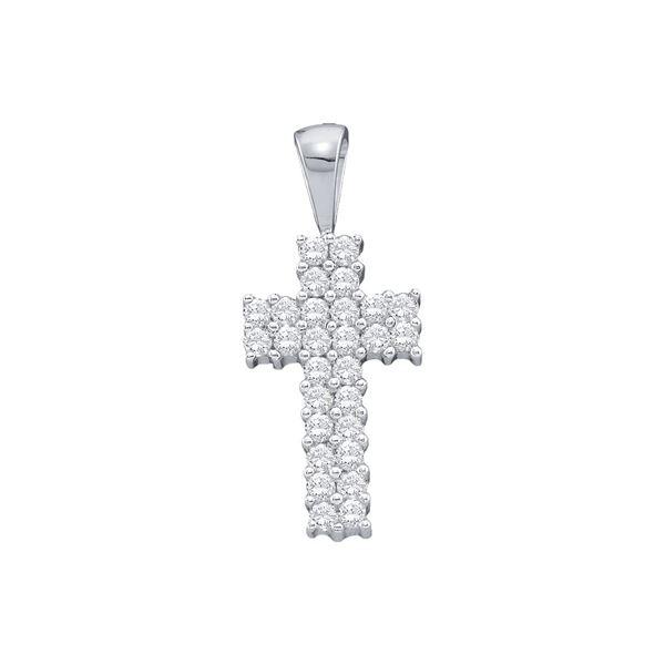 Round Diamond Simple Cross Religious Pendant 1/4 Cttw 14KT White Gold