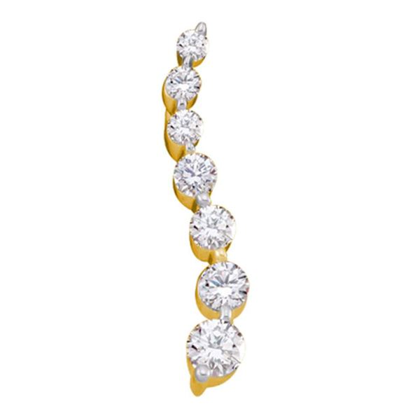 Round Diamond Graduated Journey Pendant 1/4 Cttw 10KT Yellow Gold