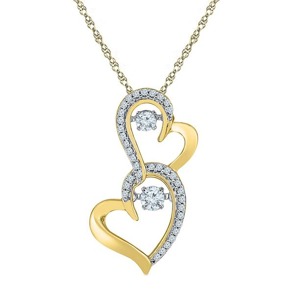 Round Diamond Moving Twinkle Solitaire Double Heart Pendant 1/4 Cttw 10KT Yellow Gold
