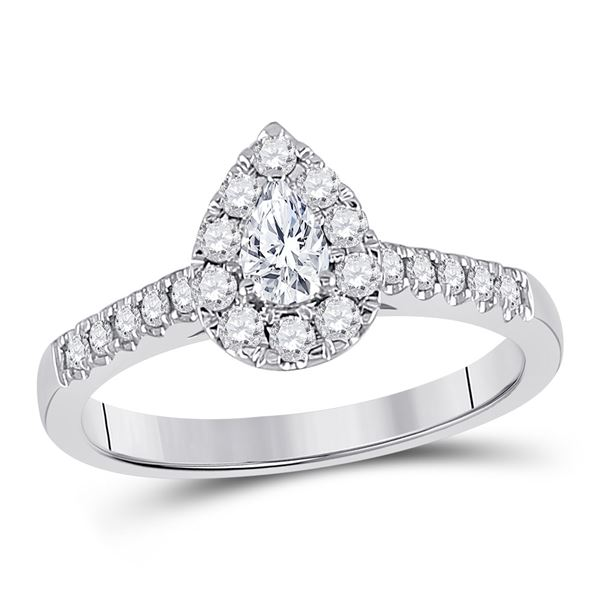 Solitaire Bridal Wedding Engagement Ring 1/2 Cttw 14KT White Gold