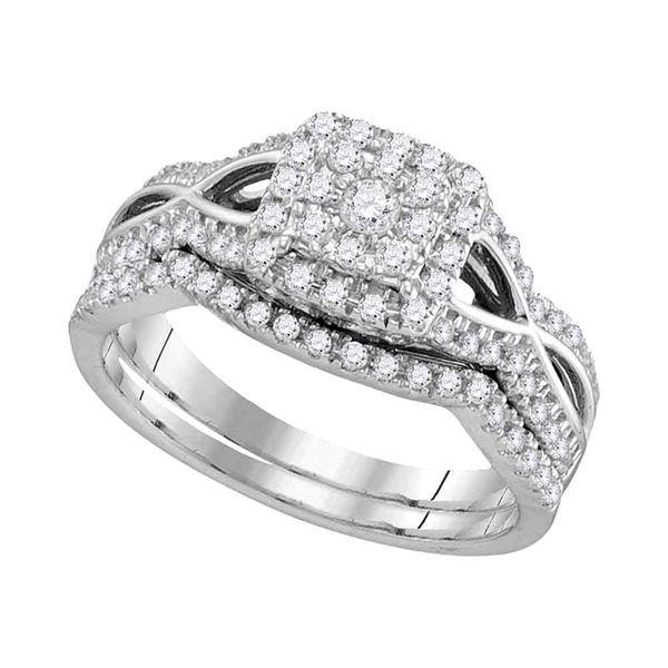Diamond Bridal Wedding Ring Band Set 1/2 Cttw 14KT White Gold