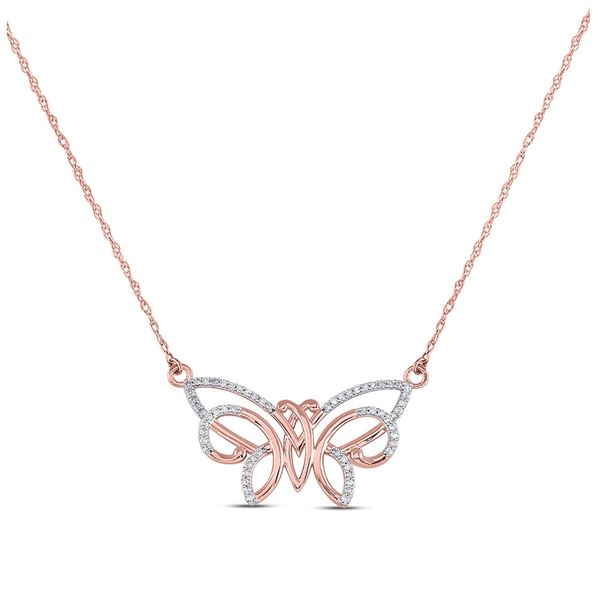Round Diamond Butterfly Bug Pendant Necklace 1/5 Cttw 10KT Rose Gold