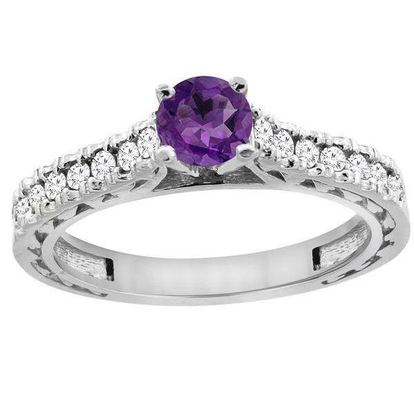 0.72 CTW Amethyst & Diamond Ring 14K White Gold - REF-62R3H