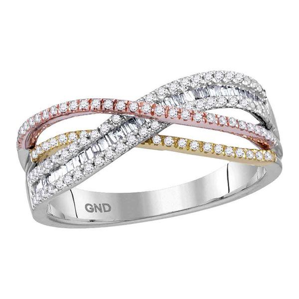 Round Diamond Crossover Band Ring 3/8 Cttw 10KT Tri-Tone Gold